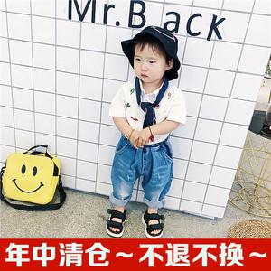 Bé mùa hè quần áo trẻ em mới chàng trai và cô gái bông thêu ngắn tay áo sơ mi trẻ sơ sinh đa năng 12-3-5 tuổi