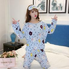 125#2018(送眼罩)韩版牛奶丝睡衣女长袖休闲女士卡通可爱家居服
