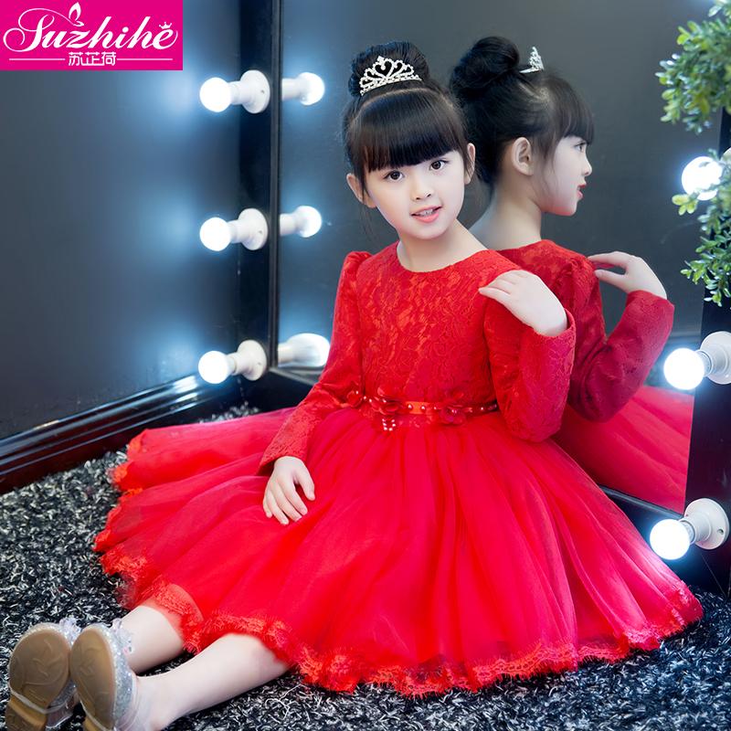 女童连衣裙秋装2018新款韩版长袖加绒儿童公主裙洋气礼服宝宝冬装