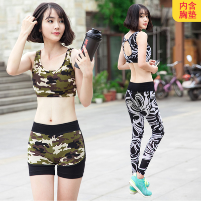 Yoga gym clothing three-piece summer female camouflage elastic XL cover belly quick-drying tight sports running suit