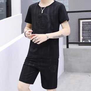 2019年新款夏季时尚休闲套装男短袖短裤迷彩暗纹男士舒适两件套潮