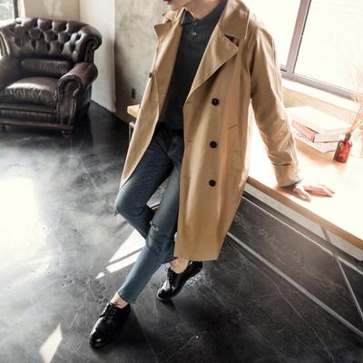 2018 mùa thu mới kaki áo gió dài retro nam giới thanh niên Hàn Quốc áo khoác đôi ngực áo Áo gió