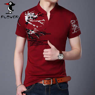 夏季印花V领短袖T恤 男士纯棉半袖体恤