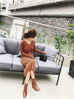 【OOS】实拍超百搭v领针织连衣裙送腰带8527