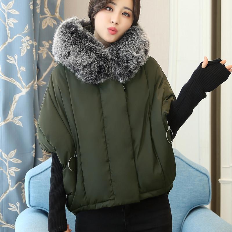 实拍2017新款羽绒棉服韩版短款大码女装宽松蝙蝠袖拼接针织袖外套