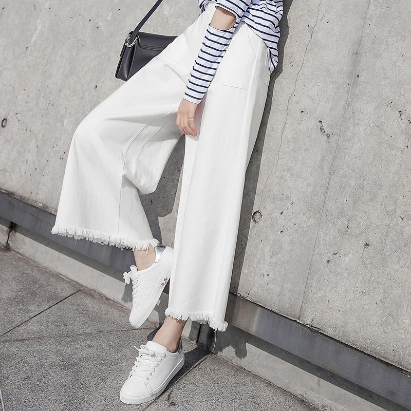 白色阔腿裤宽松休闲裤子