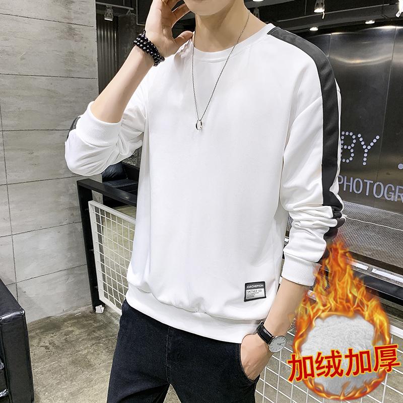 卫衣男2019秋季打底上衣潮流韩版时尚加绒长t百搭长袖卫衣男