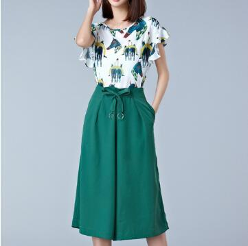 Two-Piece Suit Summer Fashion Short Sleeve Top With Loose Pant Suit