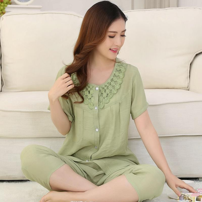 Cotton cardigan đồ ngủ nữ mùa hè nhân tạo cotton trung niên cộng với phân bón để tăng ngắn tay tre bông mặc dịch vụ nhà phù hợp với