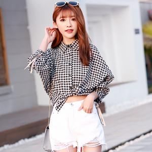 937#2018格子衬衫女宽松春款新款韩版学生夏季灯笼袖原宿衬衣小衫