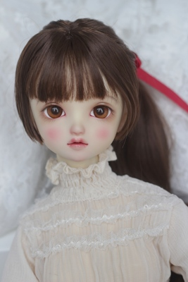 taobao agent 【Kaka Planet】BJD baby wig soft silk high ponytail 4 points 3 points brown with ribbon