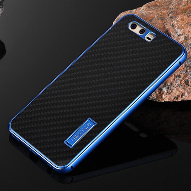 iMatch Luxury Aluminum Metal Bumper Carbon Fiber Back Cover Case for Huawei P10 Plus & Huawei P10