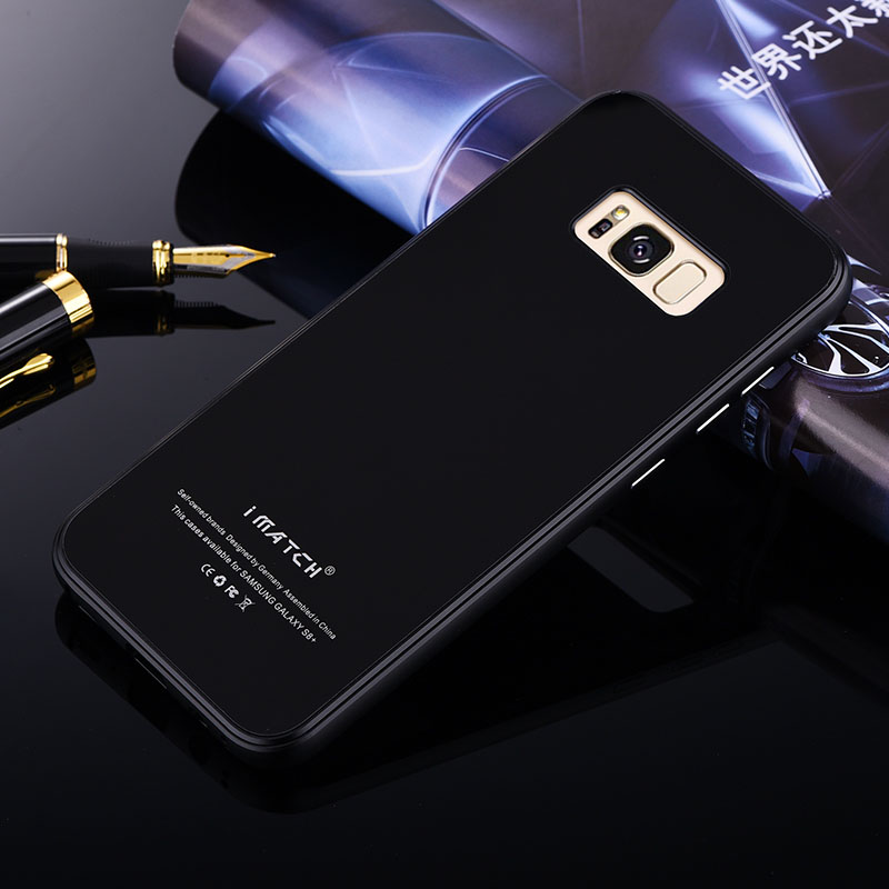 iMatch Aviation Aluminum Alloy Metal Bumper Tempered Glass Back Cover Case for Samsung Galaxy S8 Plus & Galaxy S8