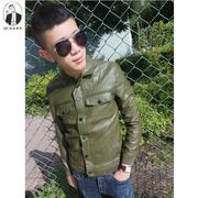 2016 mùa thu nhẹ nhàng Wei Lu Nhân Dân Tệ ve áo người đàn ông da của xe máy quần áo thanh niên áo khoác Slim mỏng áo khoác da