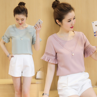 c6a240cab50 Add to Cart. 2017 summer new ladies Korean version of the wild short-sleeved  chiffon shirt clothes tide