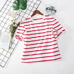 S2 mùa hè 2018 mới thời trang tuổi vòng cổ sọc cánh hoa tay áo phiên bản thẳng T-Shirt nữ 4370