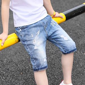 Quần áo trẻ em trai quần short mùa hè 2018 trẻ em mới của denim quần trẻ em lớn bảy điểm quần phần mỏng triều mùa hè