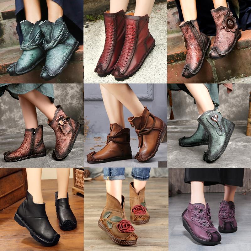 2018 mùa xuân mới khởi động ngắn đáy phẳng thoải mái không trượt mẹ giày miệng cá giày gió quốc gia giày của phụ nữ da mềm khởi động