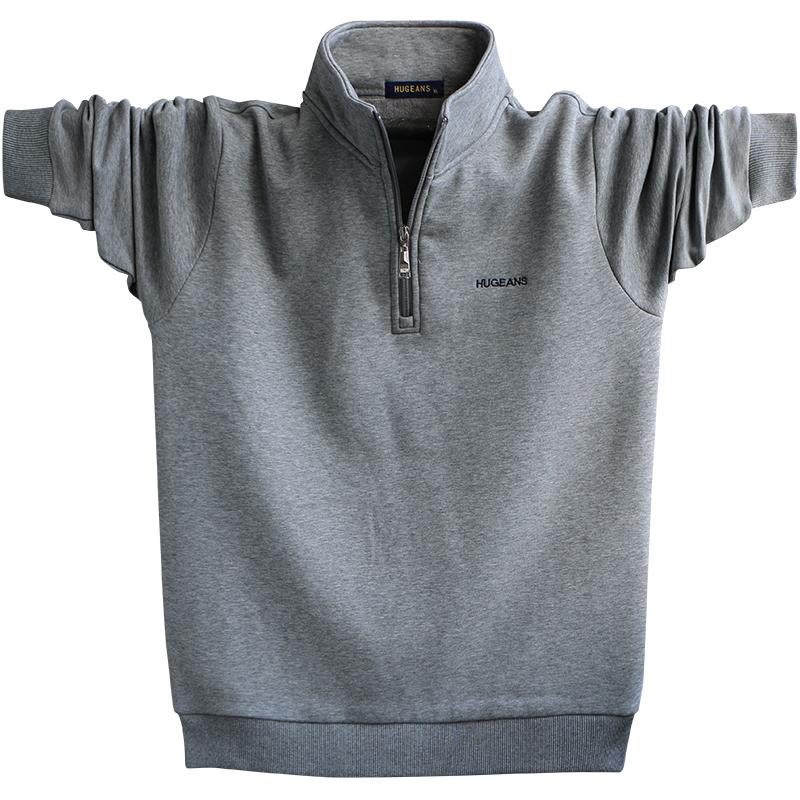 Áo len nam cộng với nhung dày Áo len rộng kích thước lớn cộng với tăng mỡ cho nam trung niên thể thao ấm áp - Cực lớn