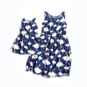 Giải phóng mặt bằng không trở lại cô gái bông váy rayon vest váy lỏng ánh sáng breathable váy cha mẹ và con mặc