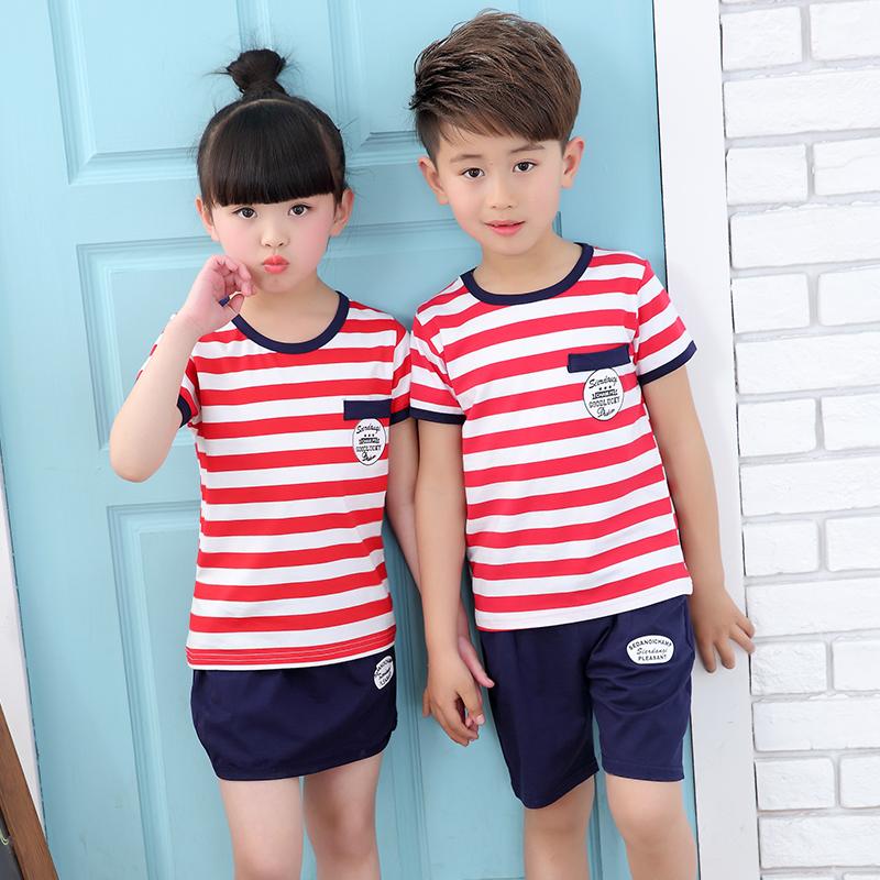 2018 mới mùa hè của trẻ em đồng phục học sinh cotton set trường tiểu học lớp quần áo mẫu giáo quần áo học sinh trung học quần áo tùy chỉnh