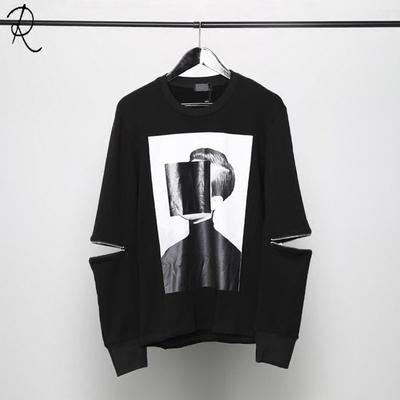 2018 mùa thu quần áo thiết kế ban đầu Châu Âu và Hoa Kỳ triều nam tối đen cá tính in ấn tay áo dây kéo khâu dài tay áo len nam Áo len
