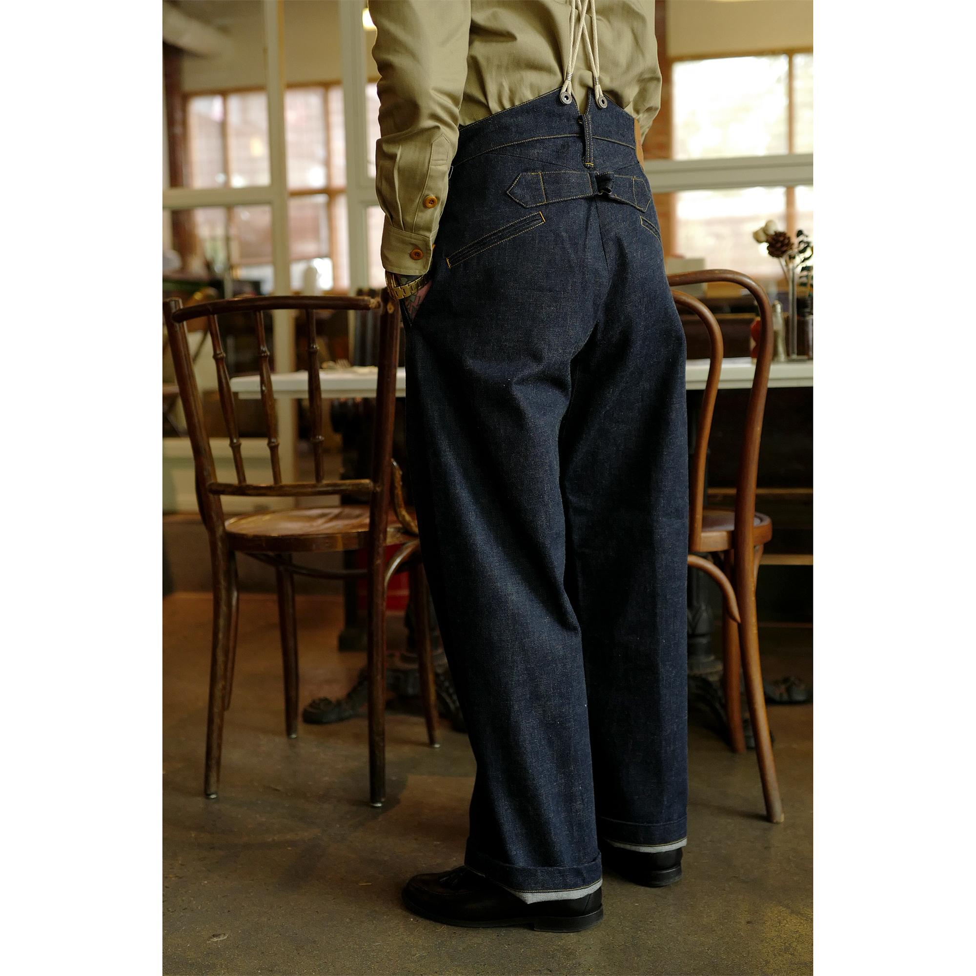 Labour union新版型连腰背带阔腿牛仔裤古着康正1930s LU094