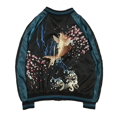 Cổ Yokosuka mực thêu đồng phục bóng chày nam giới và phụ nữ vài mô hình phần mỏng BF gió áo khoác bay phần mỏng áo khoác thủy triều