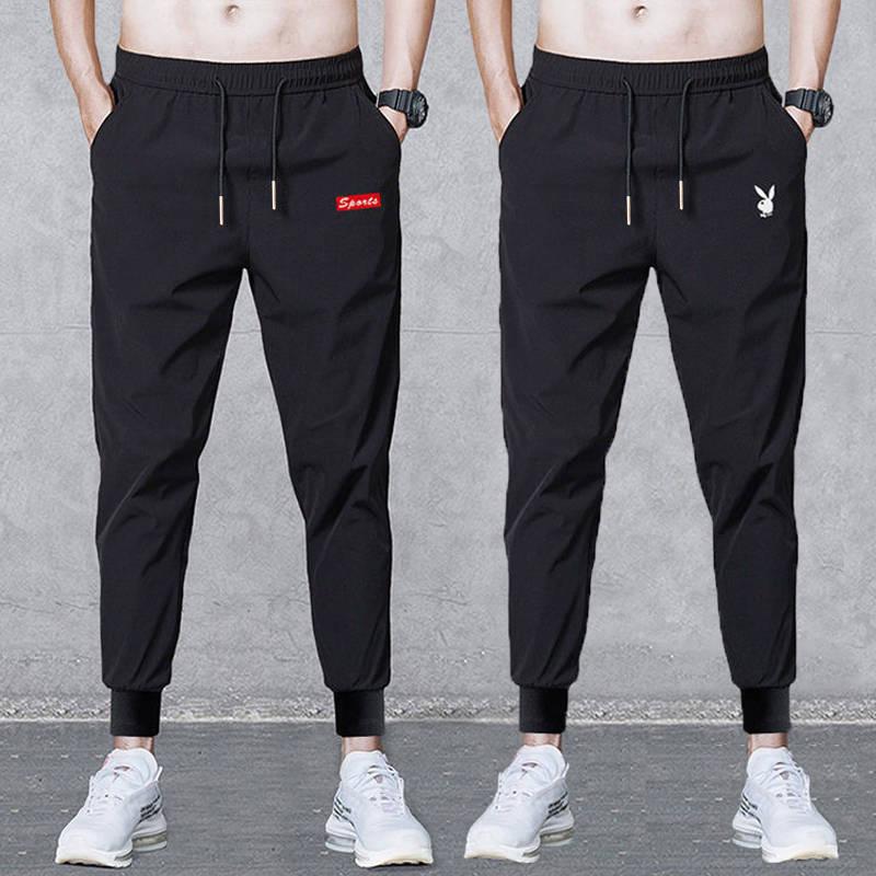Mùa hè băng lụa mùa hè quần dài nam giản dị quần mỏng Hàn Quốc lỏng thoáng khí quần thun thể thao quần mùa hè - Crop Jeans