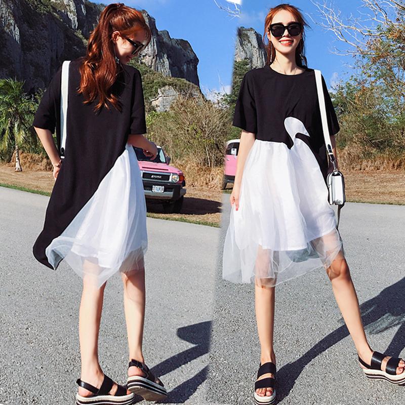 新款孕妇夏装连衣裙中长款宽松韩版时尚短袖夏季外出雪纺裙