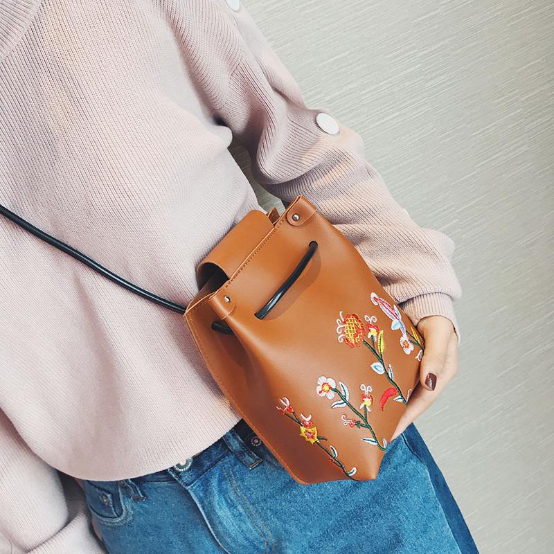 【九粒】女包迷你刺绣水桶包2017新款夏季小包包