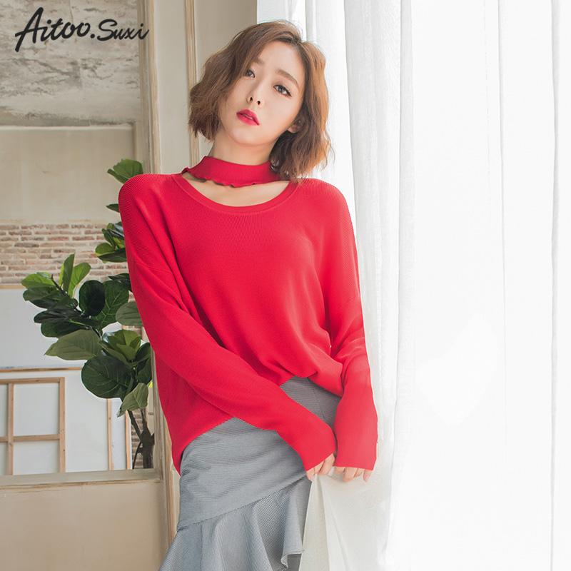 Phụ nữ tính khí là mỏng và linh hoạt treo cổ vòng cổ dài tay màu áo len dệt kim rắn Ai lồi 2018 mùa thu phong cách mới
