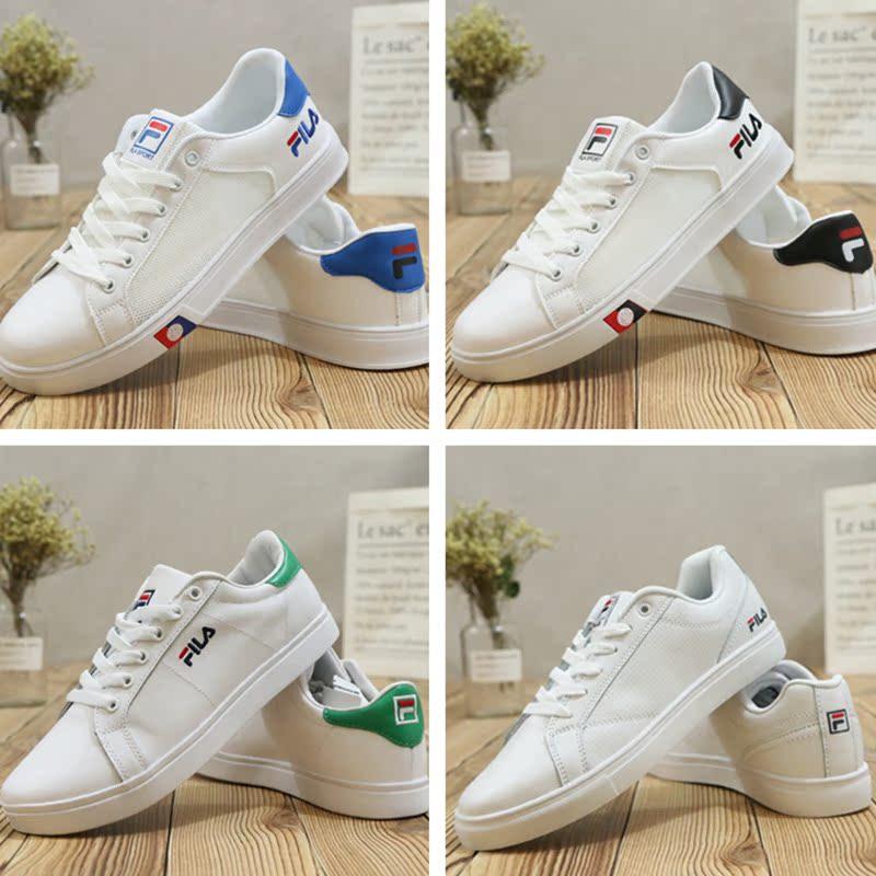 Hàn Quốc FILA Fila vài thấp để giúp mùa hè lưới thoáng khí da rỗng màu xanh lá cây đuôi thể thao giản dị giày giày trắng