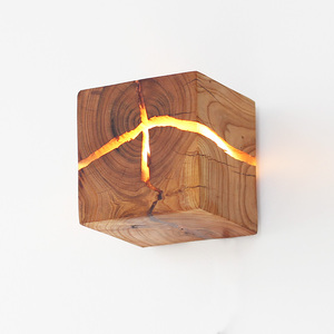 [木呓] 原创裂痕实木LED壁灯