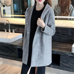 2016冬装新款郑爽明星同款连帽毛呢外套女中长款加棉加厚呢子大衣
