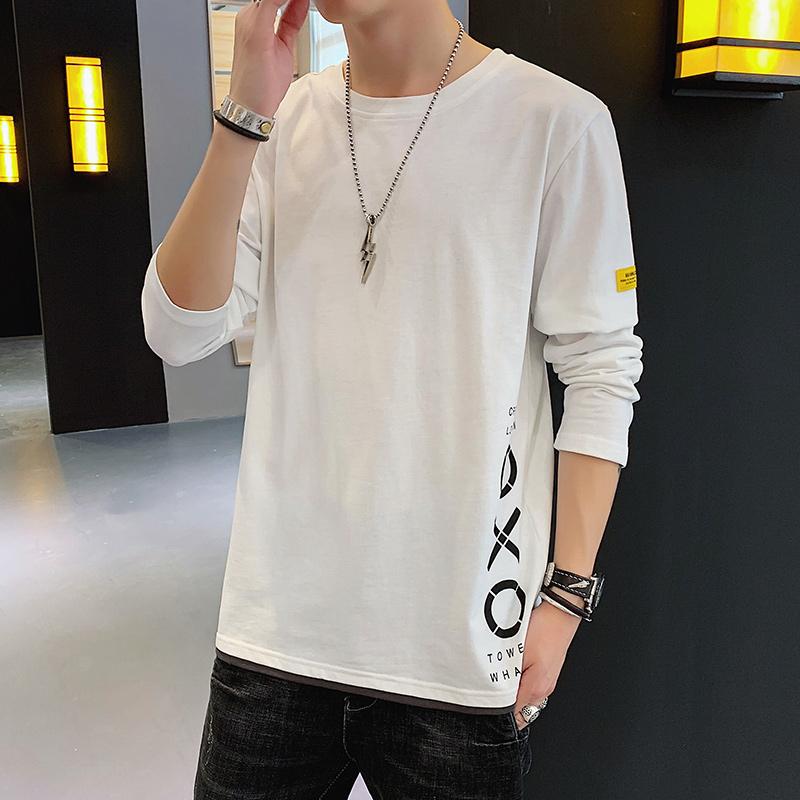 长袖t恤男2020秋季新款韩版潮流修身纯棉男装春秋款青少年打底衫
