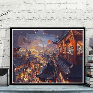 Цифровой живопись diy пейзаж красивый древность ночь вид фонари ручная роспись заполнение раскраска масло цвет живопись цветущий свет рано на
