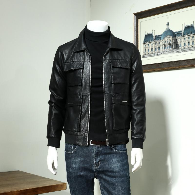 Mùa thu 2019 quần áo da nam xe máy Slim Thời trang Hàn Quốc đẹp trai áo khoác retro áo khoác da - Quần áo lông thú