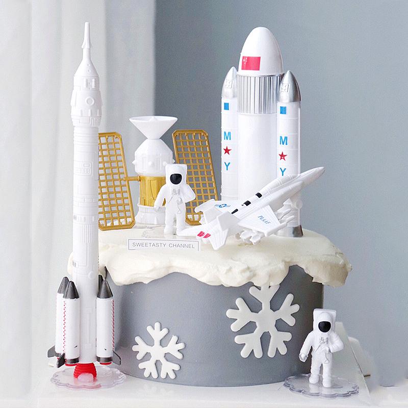 航天飞机飞船宇航员摆件星球主题蛋糕装饰