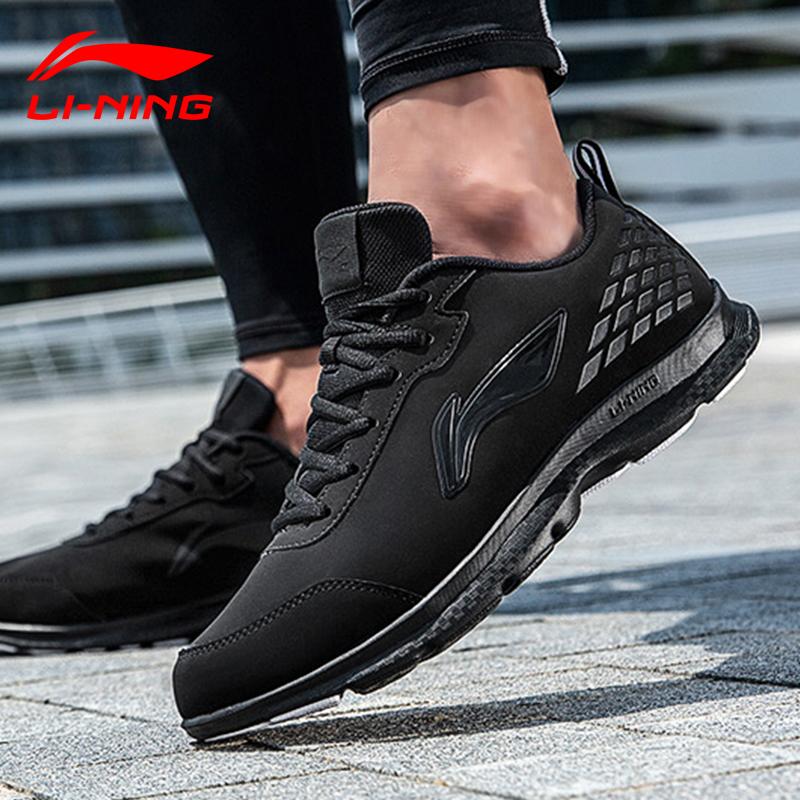 李宁跑步鞋男鞋2021春秋季皮面防水耐磨防滑运动鞋纯黑色防臭全黑