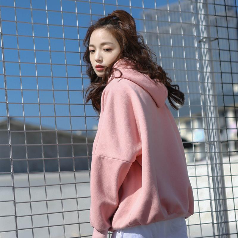 宽松粉色卫衣加绒加厚长款软妹外套