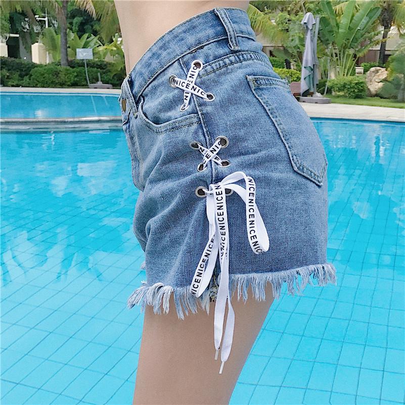 2018 mùa hè mới Hàn Quốc phiên bản của kích thước lớn 200 pound chất béo mm cao eo quần short denim phụ nữ lỏng lẻo mỏng rộng chân quần nóng