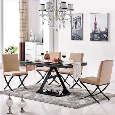 长方形店铺接待洽谈桌简约现代钢化玻璃餐桌椅