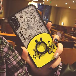 苹果iphone全系列支架手机壳卡通笑脸