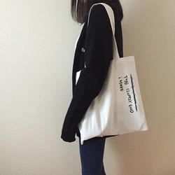 韩国简约百搭文艺字母ins帆布包女包单肩包森系学生复古手提袋夏