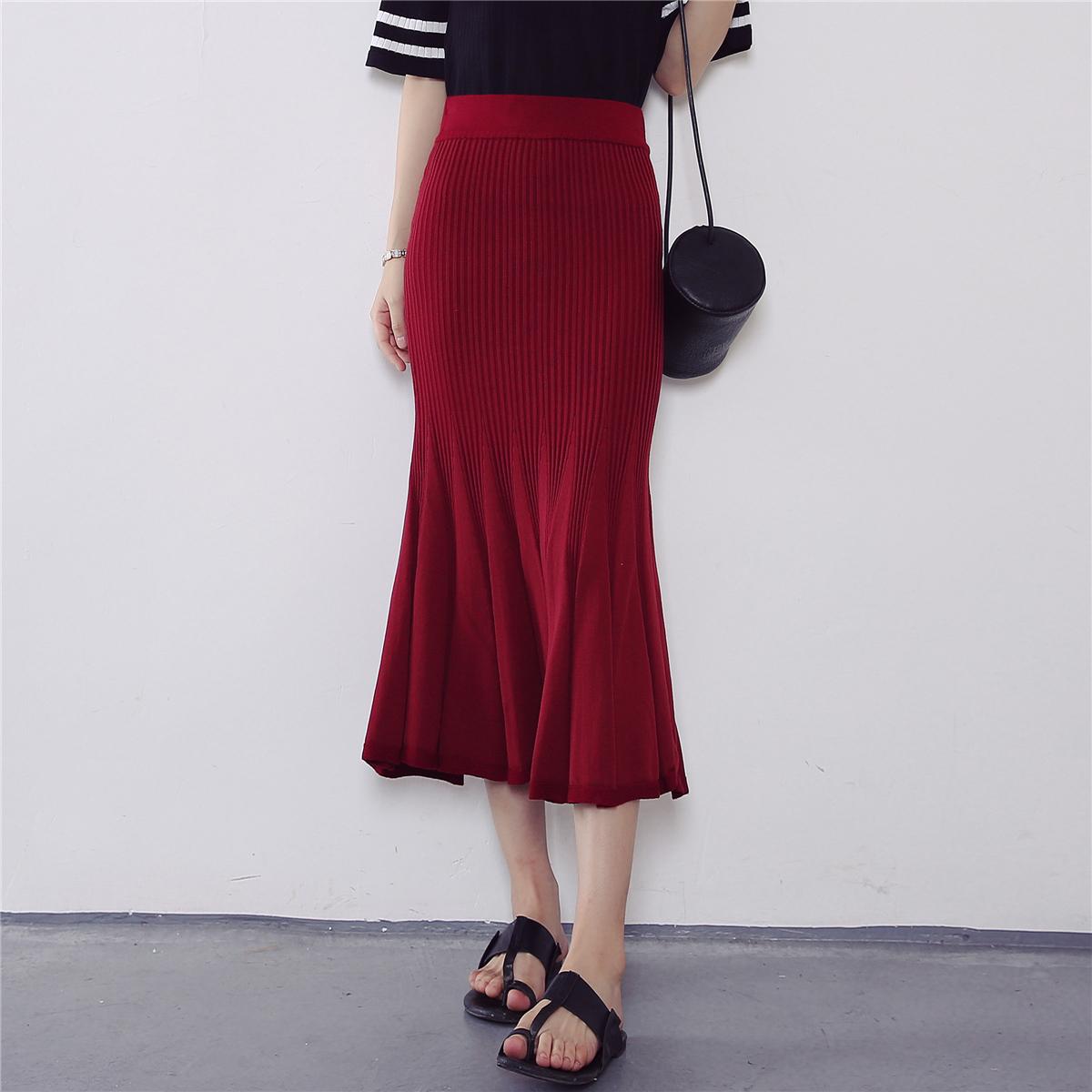 6202【實拍】秋裝新款韓版時尚魚尾裙松緊腰半身裙針織包臀裙