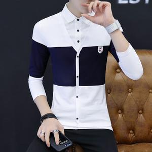 秋季長袖T恤男士韓版翻領青年修身男衣襯衫領假兩件 阿杰 8103#