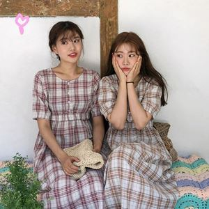 现货~韩国 ins超火 鬼马系复古格子短袖连衣裙长裙