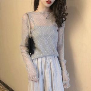 Hồng Kông hương vị chic phong cách retro thời trang Hàn Quốc ren điểm sóng nấm quăn dài tay voan áo sơ mi nhẹ nhàng đa năng áo sơ mi