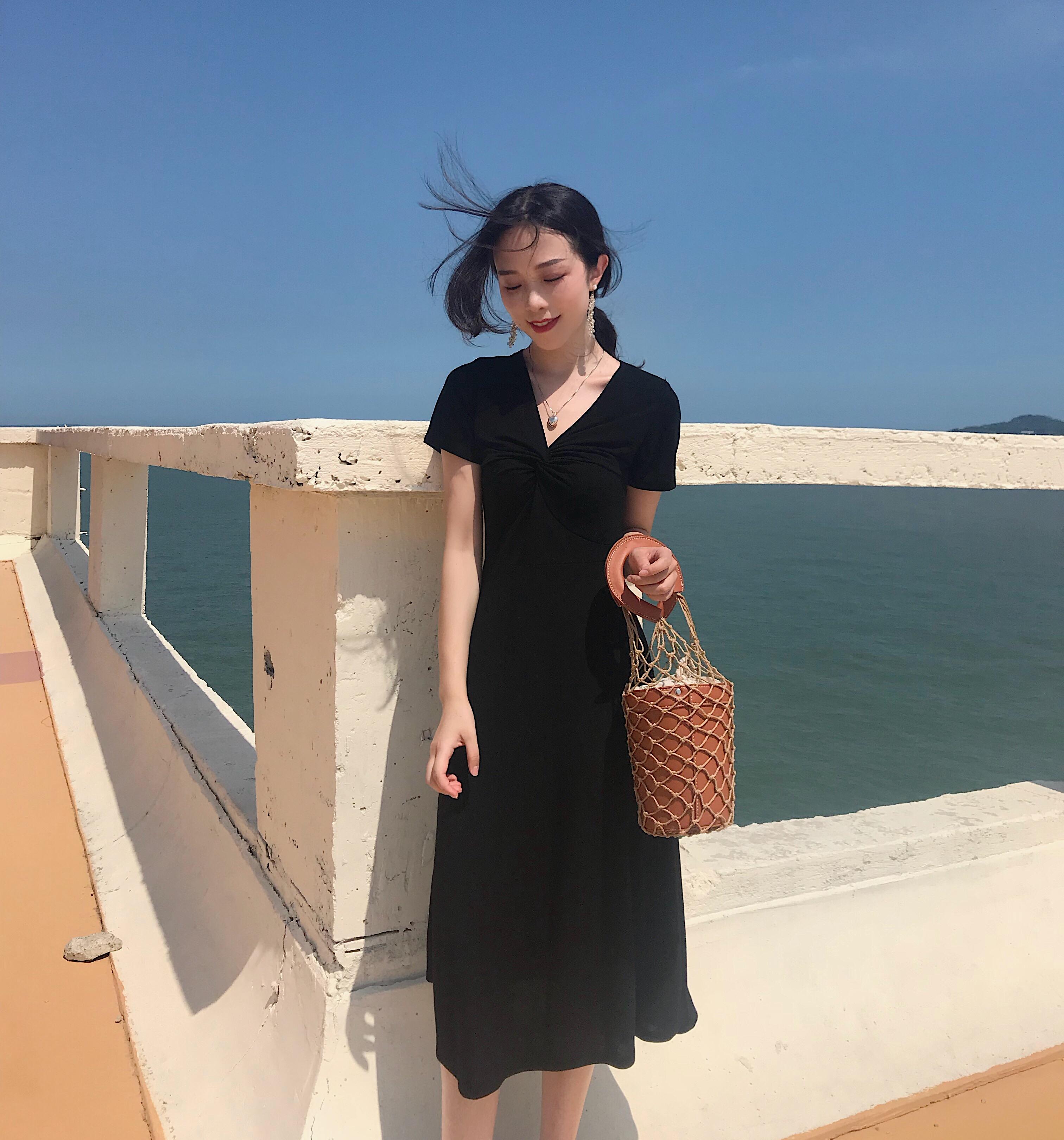 实价 实拍韩国chic风气质女人味百搭系带连衣裙